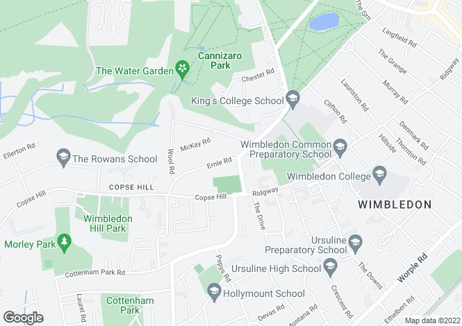 Map for Woodhayes Road, Wimbledon Village, SW19