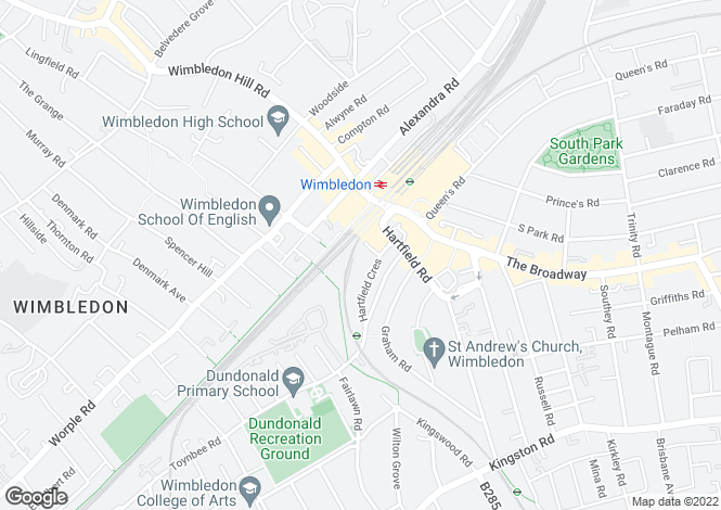 Map for Cascades Court, 13-19 Hartfield Crescent, Wimbledon