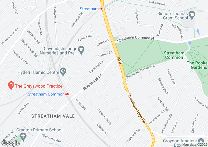 Map for Greyhound Lane, Streatham Common