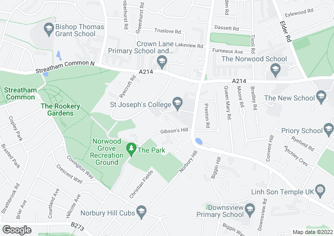 Map for Gibsons Hill Streatham Common SW16
