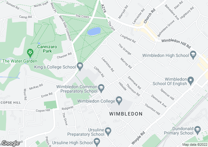 Map for Clifton Road, Wimbledon