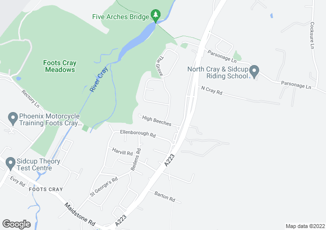 Map for The Grove, Northcray, Sidcup