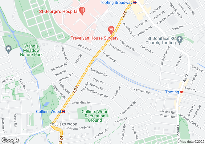 Map for Robinson Road, Colliers Wood