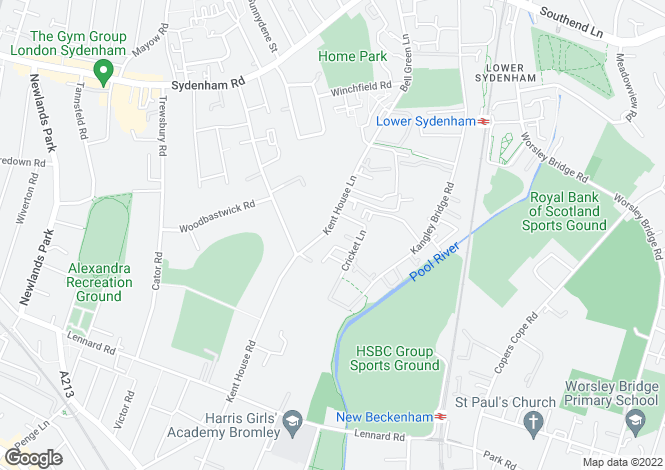 Map for Kent House Lane, Beckenham BR3