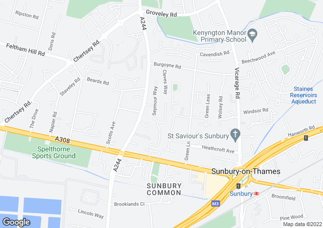 Map for Aragon Close, Sunbury-on-thames, Middlesex, TW16