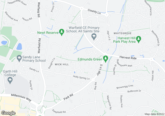 Map for Tarragon Close, Warfield, Bracknell, RG12