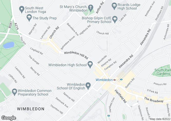Map for Wimbledon Hill Road, London SW19