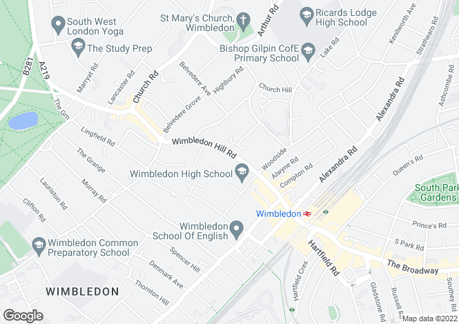 Map for Holly Lodge, Wimbledon Hill Road, Wimbledon, London, SW19