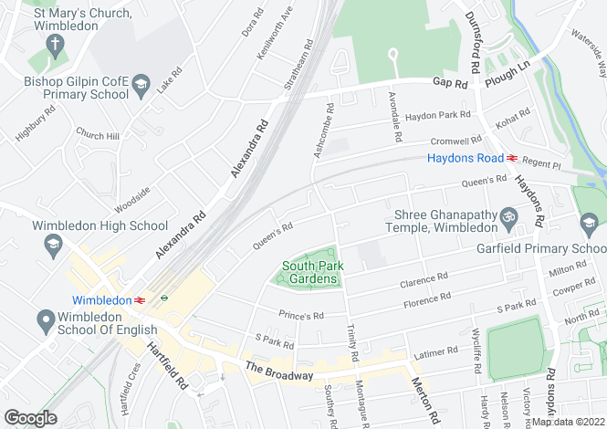 Map for Bradshaw Close, Wimbledon, SW19