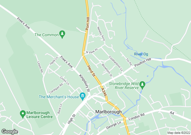 Map for Pipers Piece, Herd Street, Marlborough, Wiltshire, SN8