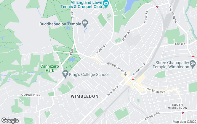 Map for Savills, Wimbledon