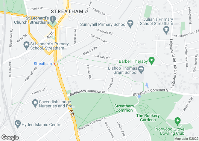 Map for Hopton Road, Streatham