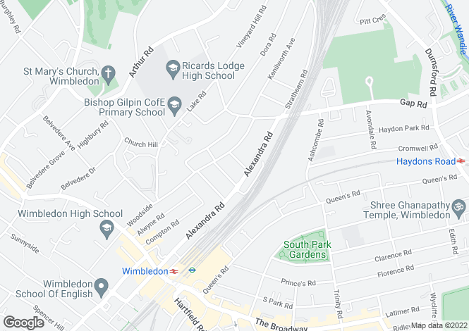 Map for Rostrevor Road, Wimbledon, London, SW19