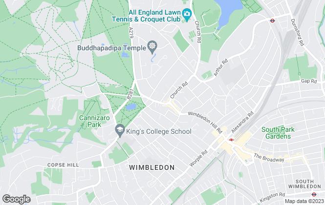 Map for Elizabeth Wightwick Bespoke Lettings, Wimbledon Village
