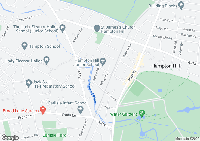 Map for Windmill Road, Hampton Hill, Hampton TW12