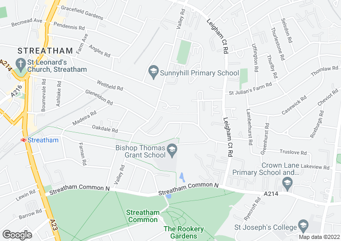 Map for Valleyfield Road, Streatham, London, SW16