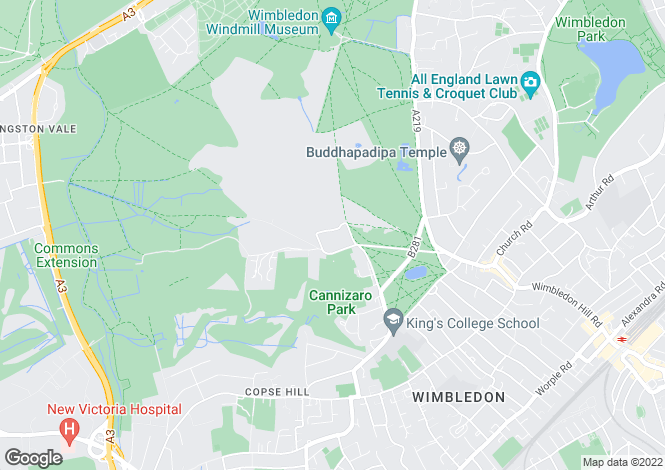 Map for North View, Wimbledon Common, London