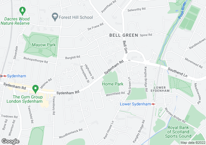 Map for Sydenham Road, SE26