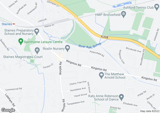 Map for Glebe Road, Staines, Middlesex, TW18