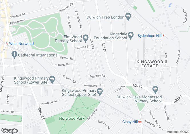 Map for Clive Road, West Dulwich