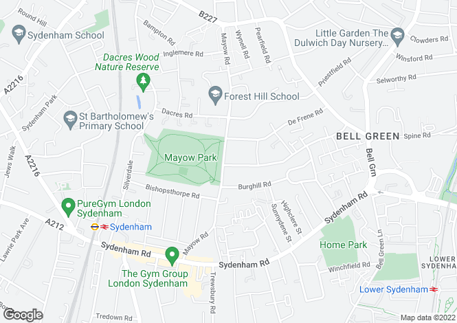 Map for Mayow Road, London, SE26