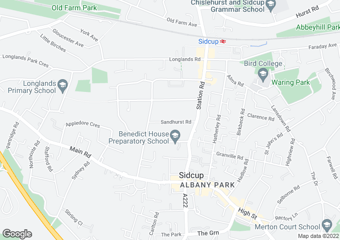 Map for Sandhurst Road, Sidcup, DA15 7HL