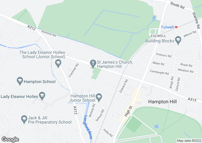 Map for Park Road, Hampton Hill, Hampton TW12