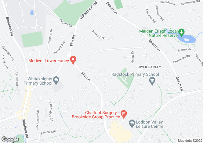 Map for Hutton Close, Lower Earley, Reading, RG6