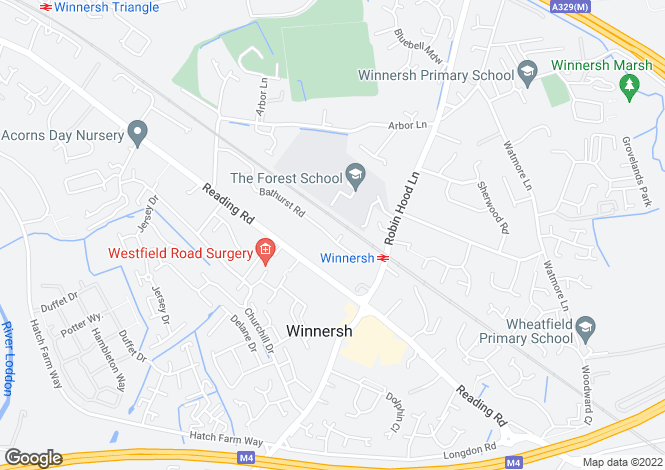 Map for Bathurst Road, Winnersh, Wokingham