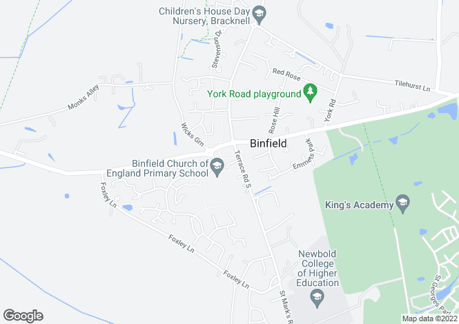 Map for 1-4 Oakmede Place, Terrace Road, Binfield, RG42 4JF