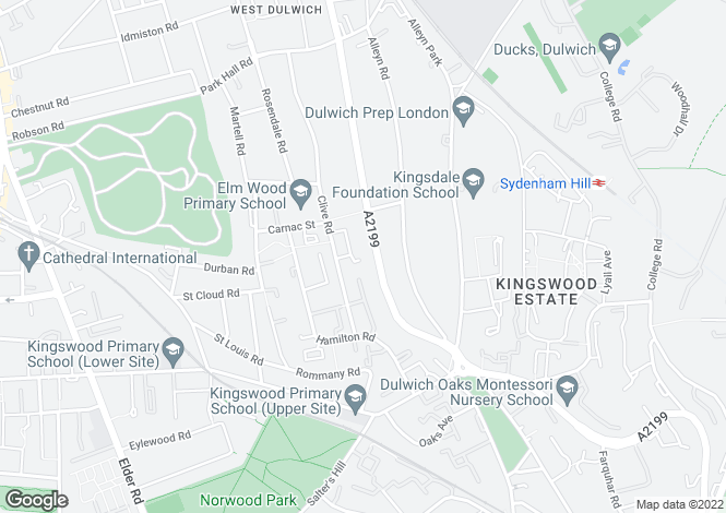 Map for South Croxted Road, West Dulwich, SE21