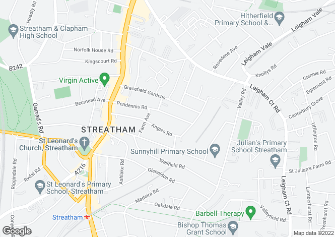 Map for Pendennis Road, Streatham