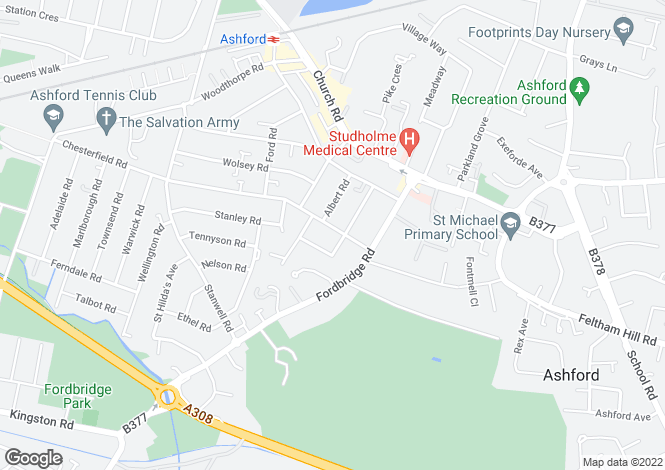 Map for Chesterfield Road Ashford
