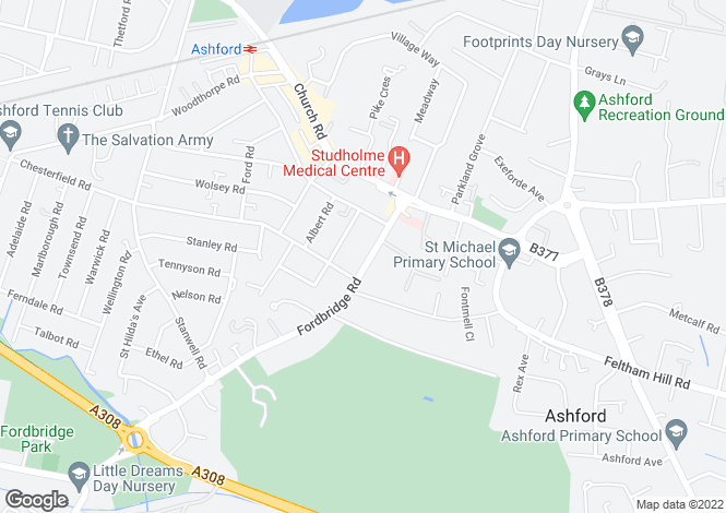 Map for Fordbridge Road Ashford