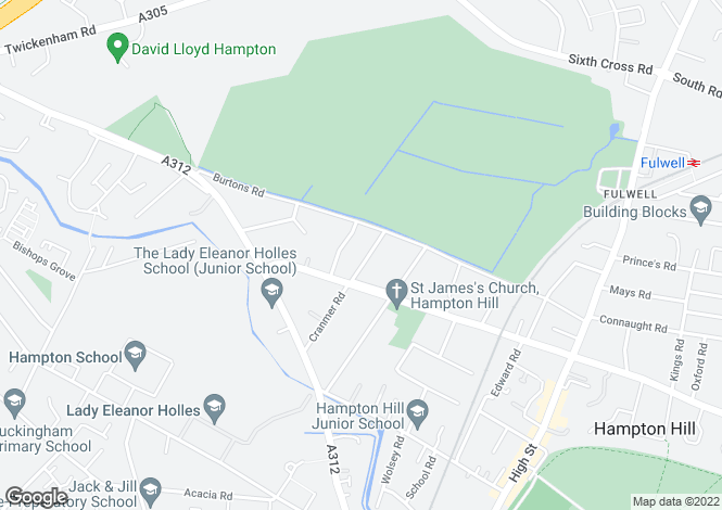 Map for Cranmer Road, Hampton Hill, Hampton TW12