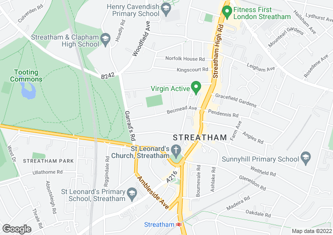 Map for Becmead Avenue, Streatham Hill, London, SW16