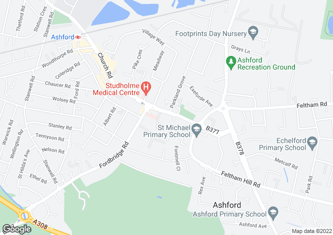 Map for Dencliffe Church Road, Ashford TW15
