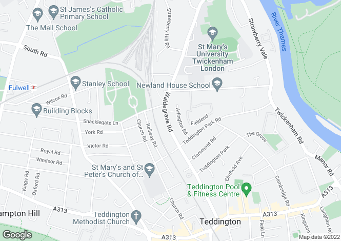 Map for Waldegrave Road, Teddington