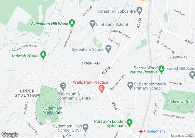 Map for Kirkdale, Sydenham, London, SE26