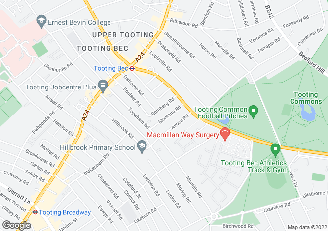 Map for Montana Road, Tooting, SW17