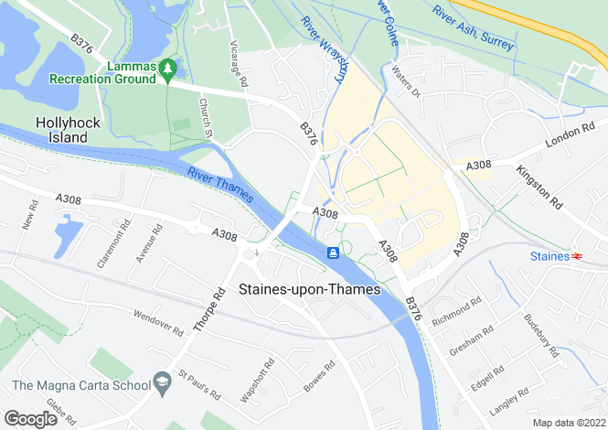 Map for Thames Edge Court,Clarence Street, Staines upon Thames