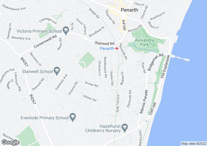 Map for Westbourne Road, Penarth