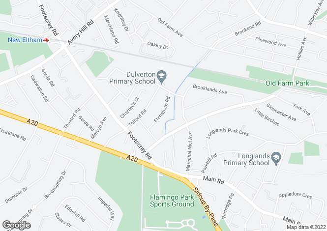 Map for Frensham Road, New Eltham, SE9 3RQ