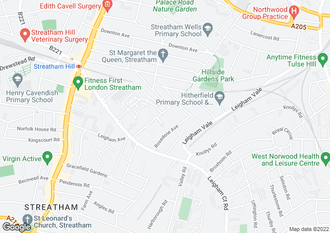 Map for Mount Nod Road, Streatham