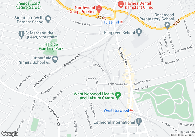 Map for Knollys Road, West Norwood, SW16
