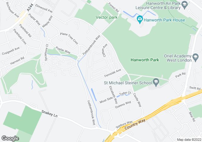 Map for Camrose Avenue, Hanworth, Feltham