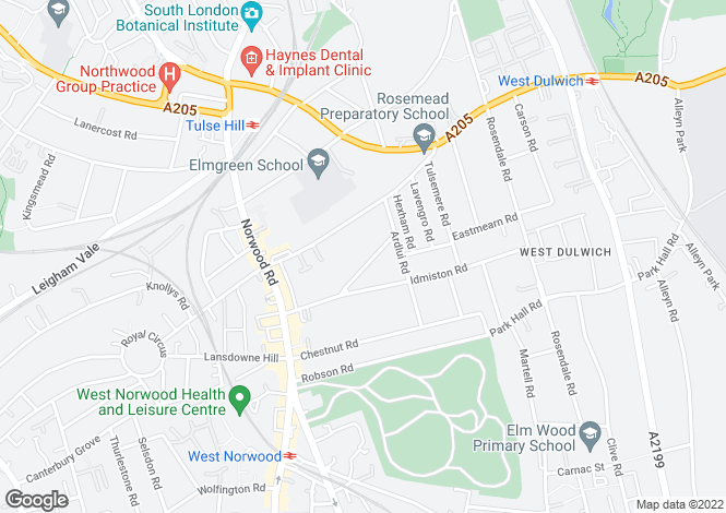 Map for Chatsworth Way, West Norwood, SE27