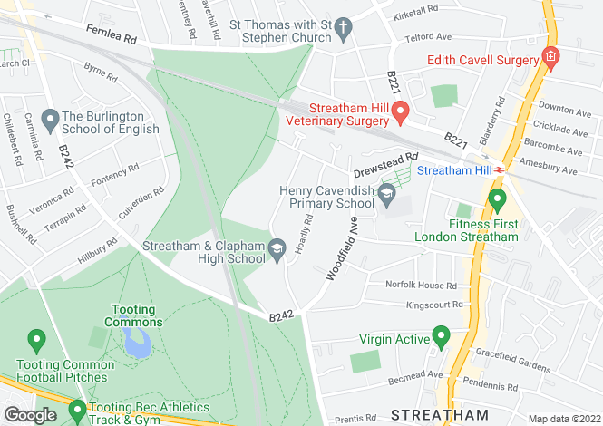Map for Hoadly Road, Streatham, London SW16 1AF