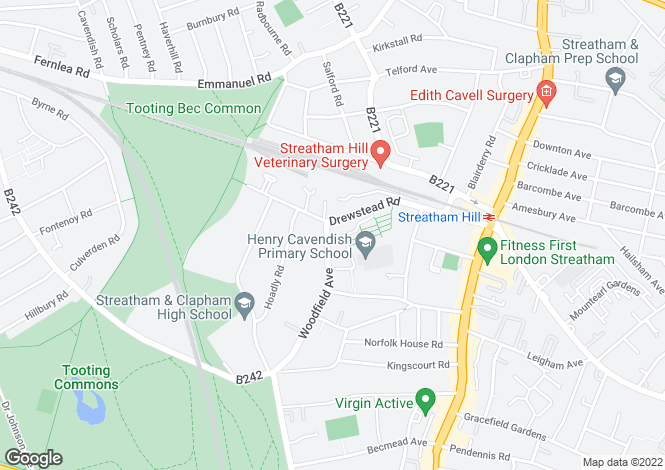 Map for Woodfield Avenue, Streatham Hill