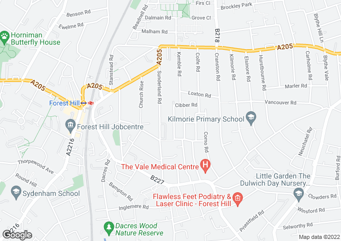 Map for Trilby Road  Forest Hill SE23